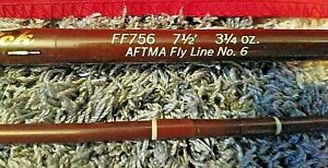 Vintage Fenwick FF756 7-1/2' Aftma Feralite 2pc Fiberglass Fly Rod No.6 W/Tube +