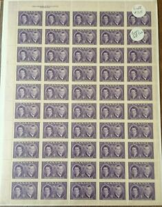 ROYAL VISIT: 1951 SCOTT #315  ELIZABETH & PHILIP FULL PANE  (50 x 4 Cent Stamps)