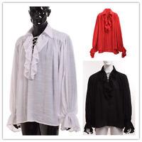 Vintage Regency Victorian Ruffle Jabot Ascot Vampire Long Sleeve Shirt Unisex