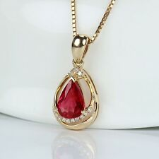 18k Rose Gold Pear Cut 0.65CT Ruby With South African Female Necklace