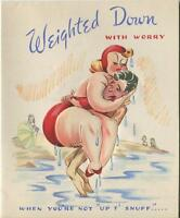 VINTAGE PRETTY PLUS SIZE WOMAN RED BATHING SUIT SWIMMING BEACH CARD ART PRINT