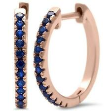 Sapphire Hoop Earrings in 14k Rose Gold over Sterling Silver -  SEPT. BIRTHSTONE