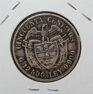 Colombia 50 Centavos, 1922 Silver~Simon Bolivar~Free Shipping
