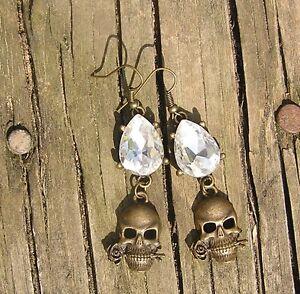 DaY of the DeaD Earrings Sugar Skull Gothic Wedding Brides Frida Handmade