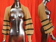 Vintage Hand Knit Striped Bishop Sleeve Short Crop Cardigan Sweater Shrug Top
