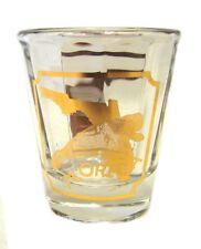 Manatee Florida FL Shot Glass USA Culver Clear Ribbed Gold Souvenir Shooter Bar