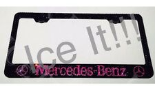 Mercedes Stainless license plate frame Made with Swarovski Crystal Pink on Black