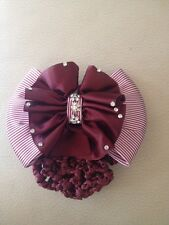 MAROON AND WHITE SHOW BOW WITH CLEAR RHINESTONES