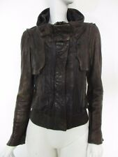 STUNNING WOMEN ALL SAINTS PACE LEATHER JACKET MILITARY BIKER BOMBER BROWN 8 £398