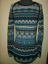 Title Nine Sweater Tunic Long Pullover Blue Medium Nordic LOVELY