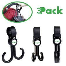 Stroller Hooks By Lebogner - 3 Pack Multi-Purpose Rotating Hooks