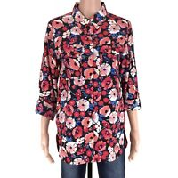 Tommy Hilfiger Women Multi Color Floral Long Sleeve Button Down Shirt Top Size S