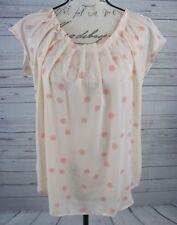 Lauren Conrad Women's Blouse Top Size M Polka Dot Cap Sleeve Sheer Peach EUC
