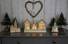 NEW Pre-Lit Wooden Christmas Ornamental Church House Decoration LED Xmas Rustic