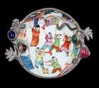 Antique Qing Dynasty Guangxu Porcelain Dragon Pewter Trinket   Ring Dish Plate