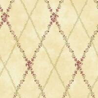 Wallpaper  Floral Peony Trellis Lattice Vine on Beige Background