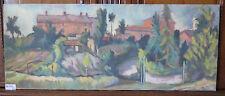 Ancienne Peinture Tableau Format Panoramique Paysage Signé avec Garantie P13