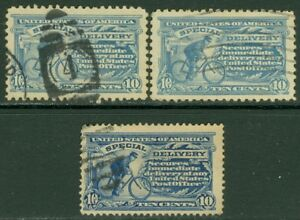 EDW1949SELL : USA 1911-16 Scott #E8-10 VF-XF, Used. All Choice stamps. Cat $72.