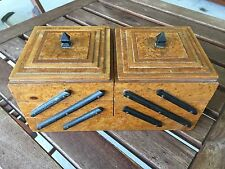 Antique Burl Wood Veneer Double Staircase Fold Out Jewelry Trinket Box Case Lids