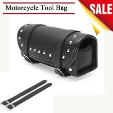 Black PU Leather Motorcycle Front Rear Saddlebags Tool Storage Bag Metal Buckles