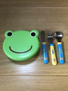 Children's Frog Snack Pot With Knife, Fork & Spoon Cutlery Set
