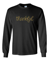 Men's Thankful T-Shirt Thanksgiving Tee Shirt Blessed Grateful Gift Long Sleeve
