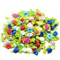 100pcs Mini Satin Ribbon Flowers Rose Leaf Decoration Craft DIY