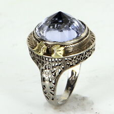 Pointed Amethyst Cocktail Ring Antique Art Deco 14k White Gold Filigree Jewelry
