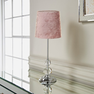 Luxe Crystal Crushed Velvet Table Lamp Bedside Complete Tablelamp - Blush Pink