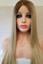 Ash Blonde Human Hair Wig, Centre Part Ombre lace front Wig