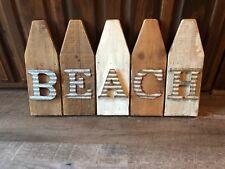 Rustic Wood and Aluminum Super Cute Beach Decor, Brown, White, Silver