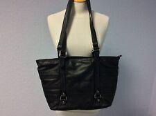 Lakeland Black Leather Bag - Zipped - Double Strap