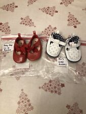 Baby Girl 2 Pair Shoe Bundle Good Condition Red Bow Blue & White 12-18 months