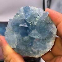 Natural Blue Celestite Crystal Quartz Cluster Geode Specimen Decoration B8O2