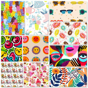 Cotton Fabric Funky Abstract Eyes Faces Donuts Jelly Babies Boobs Yoga Cupcakes