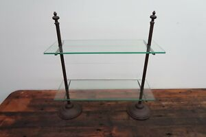 "New 27""H x 24""W Solid Glass 2-Tier Shelves Industrial Rustic Style Bookcase Rack"