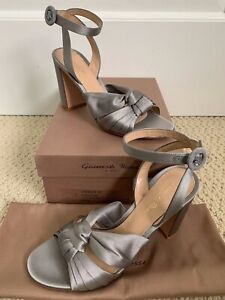 NIB Gianvito Rossi Loren Gray Knotted Satin Ankle Strap Sandals Heels 36.5 $845