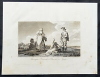 1798 Henry Moores Antique Print of Basque Peasants, Spain