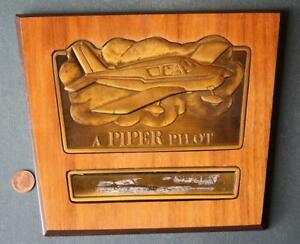 1960-70s era Vero Beach,Florida Piper Airplane pilot metal & wood trophy plaque!