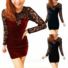 Round Neck Patternless Mini Velvet Dresses for Women
