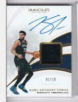 2018-19 Karl-Anthony Towns #1/10 Auto Sneaker Panini Immaculate Timberwloves