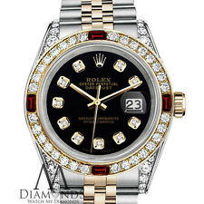 Unisex Rolex SS & Gold 36mm Datejust Black Color Dial Watch Ruby & Diamond Bezel