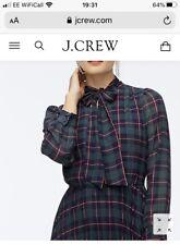 BNWT JCrew Tie-neck pleated A-line dress in Black Watch Tartan Size US16 Or UK18