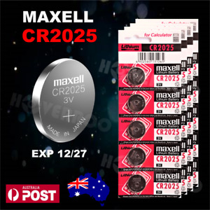 5 PCS x CR2025 MAXELL 3V LITHIUM COIN BUTTON BATTERY MADE IN JAPAN EXP 12/2027