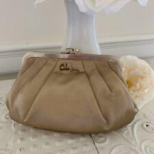 Cole Haan Champagne Silk Clutch Evening Bag Frame Purse Bridal