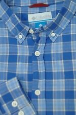 Columbia Men's Caribbean Blue Check Cotton Shirt M Medium
