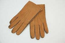 Vintage Driving Gloves Adam Made in USA Brown Leather Whip Stitched Gloves 6 42