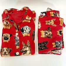 Original Vintage Nick & Nora Flannel Pajamas Milkbone Dogs Red Christmas Women M