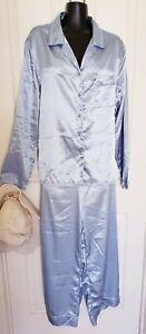 Vintage Satin Secret Treasures Pin Stripe Lounge Pajamas Set Women's Sz XL 16/18