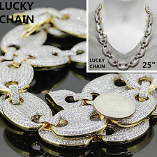 18K GOLD FINISH ICED OUT HEAVY GUCCI LINK CHAIN NECKLACE 25''x15mm 265g